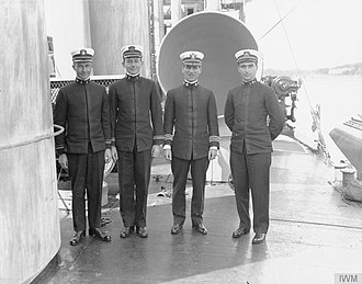 Joseph Taussig - Taussig (second from right) with officers of the Wadsworth during World War I
