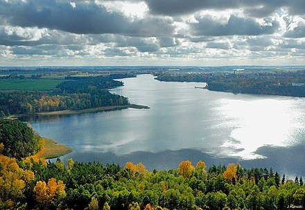 The Masurian Lake District, located in the Masuria region of Poland, contains more than 2,000 lakes. Olecko Jezioro Oleckie Wielkie.jpg
