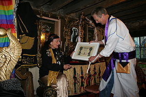 Olivia Robertson - Lady Olivia Robertson is conferred as an Honorary Ascendi of the Ascension Of Isis by Reverend David de Roeck at the Temple Of Isis, Clonegal Castle, Carlow, Ireland