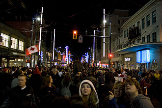 Granville Entertainment District - Large crowds at the many bars and nightclubs.