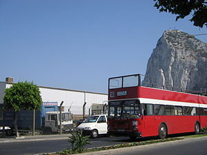 Transport in Gibraltar - An open top double-decker bus on discontinued route 10 (now Service 5).