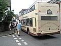 Open topped bus squeezing through Porlock High Street - geograph.org.uk - 935296.jpg