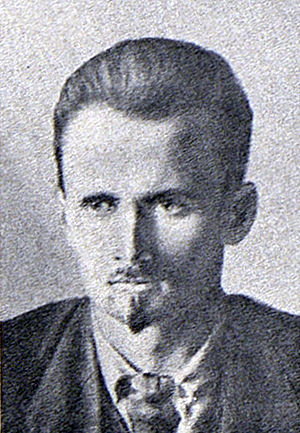 Central Committee elected by the 15th Congress of the All-Union Communist Party (Bolsheviks) - a man with a serious demeanour, with tidy hair wearing a blazer, a white shirt and a tie