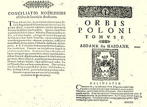 "Abdank coat of arms - Abdank coat of arms on a page of armorial ""Orbis Poloni"" written by Simon Okolski (1642, Kraków)"