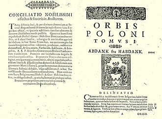 "Abdank coat of arms - Abdank coat of arms on a page of armorial ""Orbis Poloni"" written by Simon Okolski (1642, Kraków)"