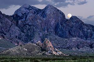 Organ Mountains-Desert Peaks National Monument - Moonrise over Organ Mountains-Desert Peaks National Monument