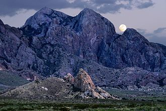Organ Mountains-Desert Peaks National Monument - Moonrise over Organ Mountains-Desert Peaks National Monument