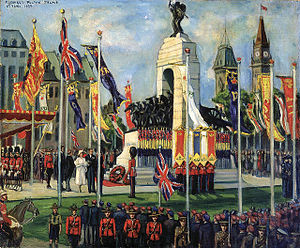 The dedication of the National War Memorial in Ottawa by King George VI, as the personification of the state, and Queen Elizabeth, 1939.
