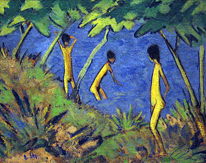 Otto Mueller - Otto Mueller, 1919: 'Landscape with Yellow Nudes', current location: MoMA