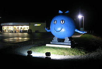 Oxford, Nova Scotia - The giant blueberry makes a distinctive entry feature for the community