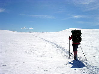 Cross-country skiing (including Ski touring) gives access to hiking trails in winter Paske.jpg