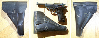 "Walther P38 - P38 made by Mauser, coded ""byf 44"" with matching presstoff and leather holster"