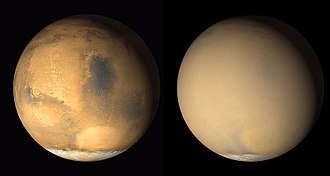 Mars ocean hypothesis - Mars without a dust storm on June 2001 (on left) and with a global dust storm on July 2001 (on right), as seen by Mars Global Surveyor