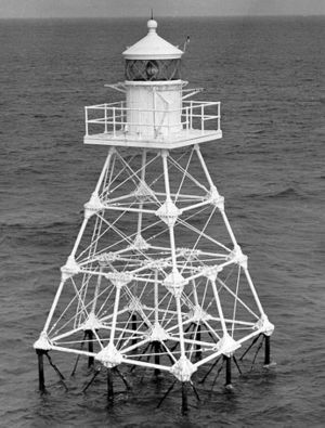 Unmanned reef lights of the Florida Keys - The Pacific Reef Light, shown in this 1966 USCG photo, was built to the same design as the Molassess Reef Light