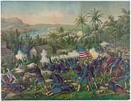 Painting of the Battle of Las Guasimas