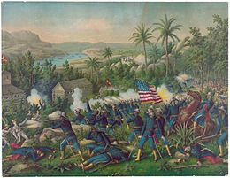 Description de l'image Painting of the Battle of Las Guasimas.JPG.