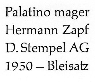 Palatino - Palatino in letterpress