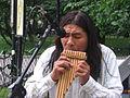 Pan flute איש מנגן בחליל פאן 2009.jpg