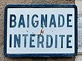 Panneau Baignade interdite au lac des Sources (Druyes-les-Belles-Fontaines).jpg