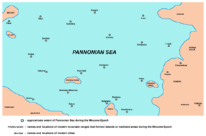 Pannonian Sea - Detailed map of the south-eastern part of Pannonian Sea during the Miocene Epoch.