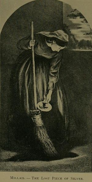 Luke 15 - In this parable, a woman sweeps her dark house looking for a lost coin (engraving by John Everett Millais).