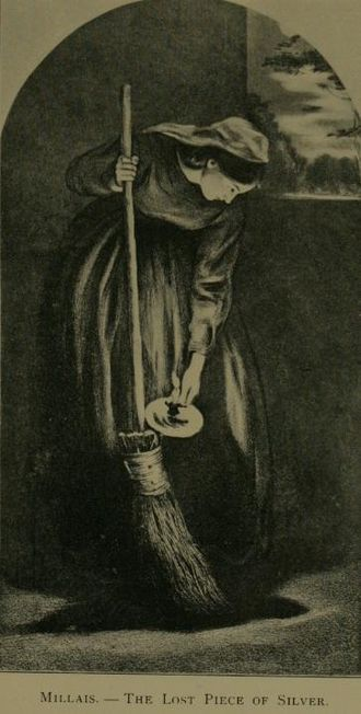 Parable of the Lost Coin - In this parable, a woman sweeps her dark house looking for a lost coin (engraving by John Everett Millais).