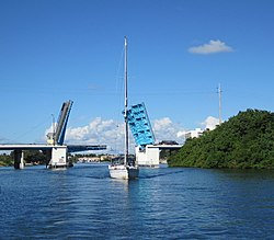 Parker Bridge on US 1 in North Palm Beach opened for sailboat (2010).jpg