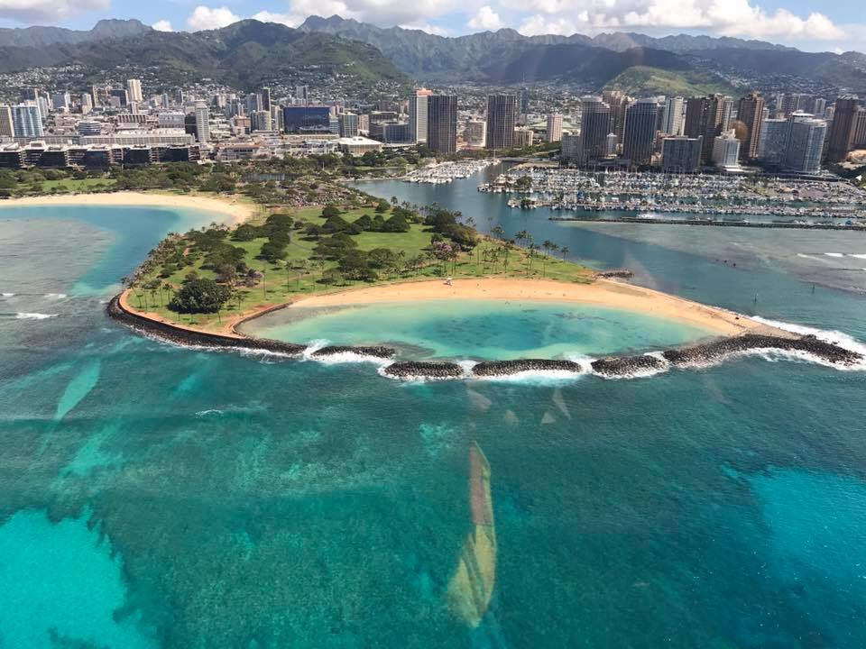 Part of Oahu as seen from a helicopter