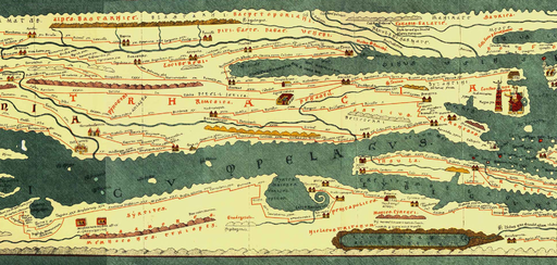 Part of Tabula Peutingeriana showing Eastern Moesia Inferior, Eastern Dacia and Thrace