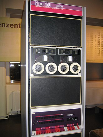 PDP-11 - PDP-11/40.  The processor is at the bottom.  A TU56 dual DECtape drive is installed above it.