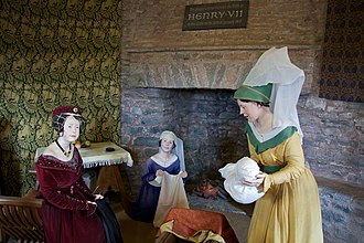 Pembroke Castle - A display depicting the birth of Henry VII of England in the castle