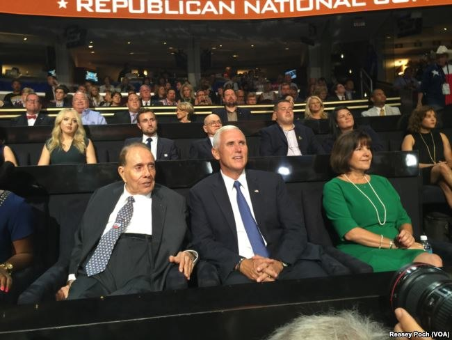 Pences sit with Bob Dole at 2016 RNC