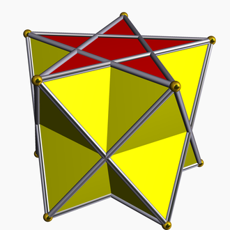 Prismatic uniform polyhedron - A pentagrammic antiprism is made of two regular pentagrams and 10 equilateral triangles.