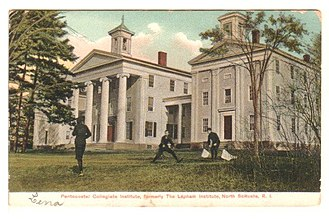 Eastern Nazarene College - Classical Revival style Pentecostal Collegiate Institute, at the Rhode Island campus c. 1905