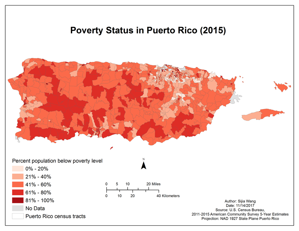 Percent population below poverty level by Puerto Rico census tract (2015)