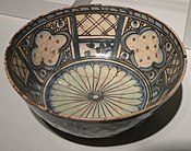 Decoratively patterned ceramic bowl from Persia