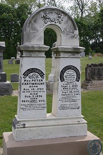 Peter Cartwright (revivalist) - Peter Cartwright's tombstone, in Pleasant Plains Cemetery, Pleasant Plains, Sangamon County, Illinois