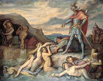 Gunther - According to the Nibelungenlied (1859) by Peter von Cornelius, Gunther orders Hagen to drop the hoard into the Rhine.