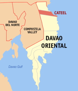 Map of Davao Oriental with Baganga highlighted