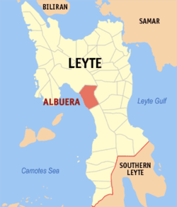 Map of Leyte with Albuera highlighted