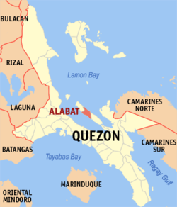 Map of Quezon showing the location of Alabat