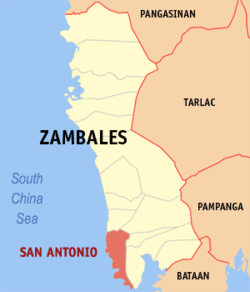 Map of Zambales showing the location of San Antonio