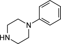 Skeletal formula of phenylpiperazine