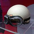 Phil Hill helmet and racing goggles left Museo Ferrari.jpg