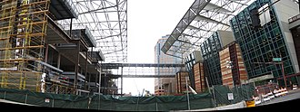 Phoenix Convention Center - Construction of the new wing (left) adjacent to the existing West Building of the Convention Center (right).