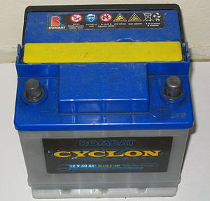 Automotive battery - A typical 12 V, 40 Ah lead-acid car battery