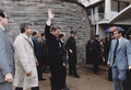 Photograph of President Reagan waving to crowds immediately before being shot in an assassination attempt, Washington... (white border removed).png