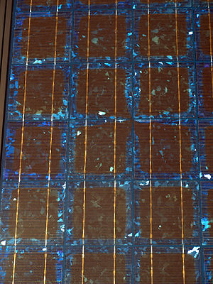 English: Solar cells on a Photovoltaic panel a...