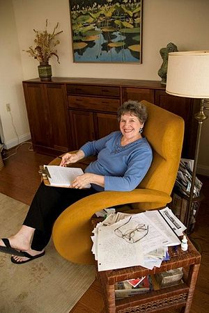 Phyllis Reynolds Naylor - Naylor in the chair where she writes the first two drafts of every book by hand