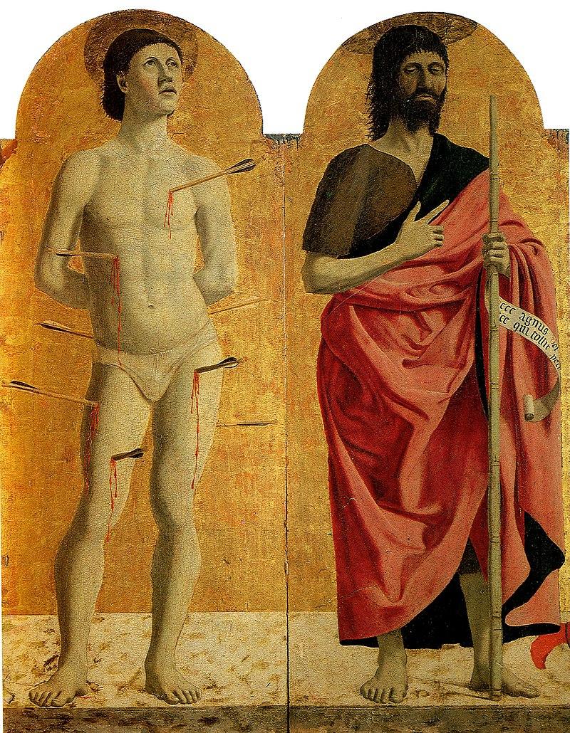 Piero, Pala della misericordia, santi sebastiano e giovanni battista.jpg